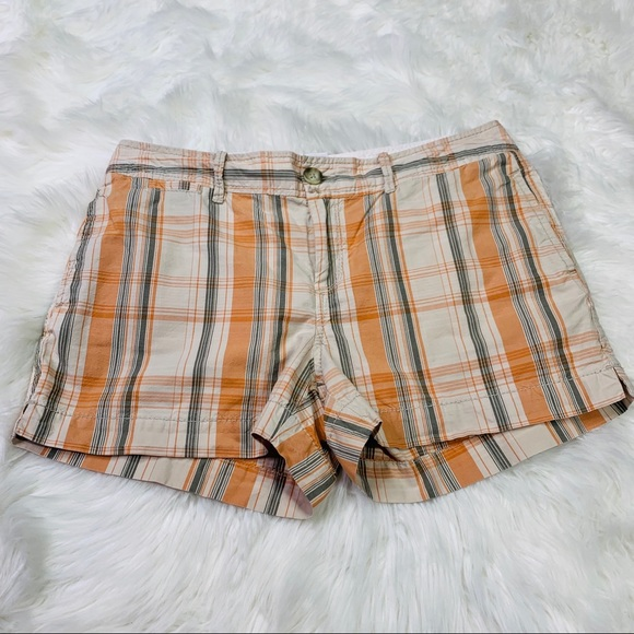 Old Navy Pants - Old Navy Orange & Khaki Plaid Low Rise Shorts - 8
